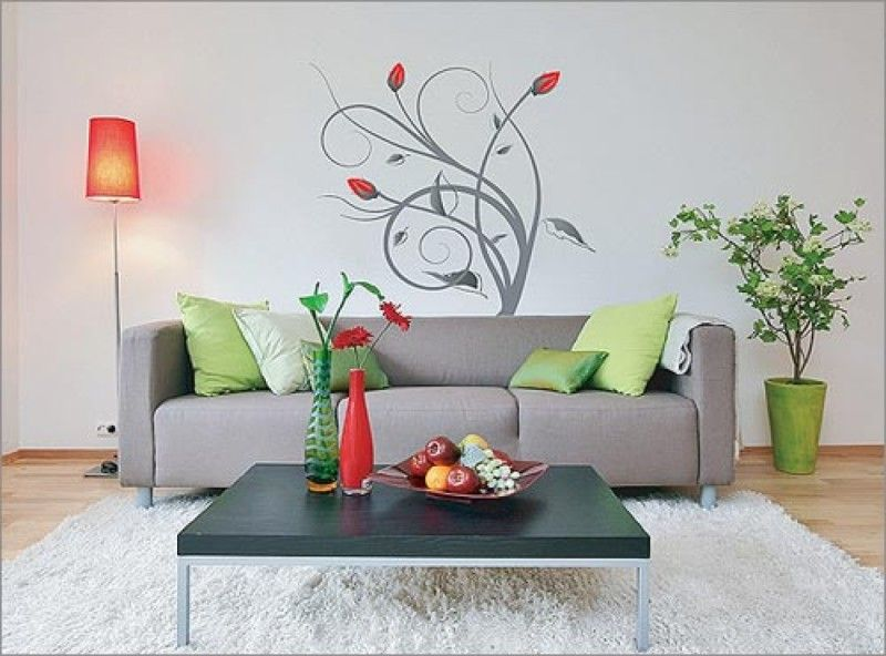 Decoration Attractive Wall Painting Ideas For Drawing Room With Floor Lamp And Elegant Furniture Desig Room Wall Painting Wall Art Living Room Room Wall Decor