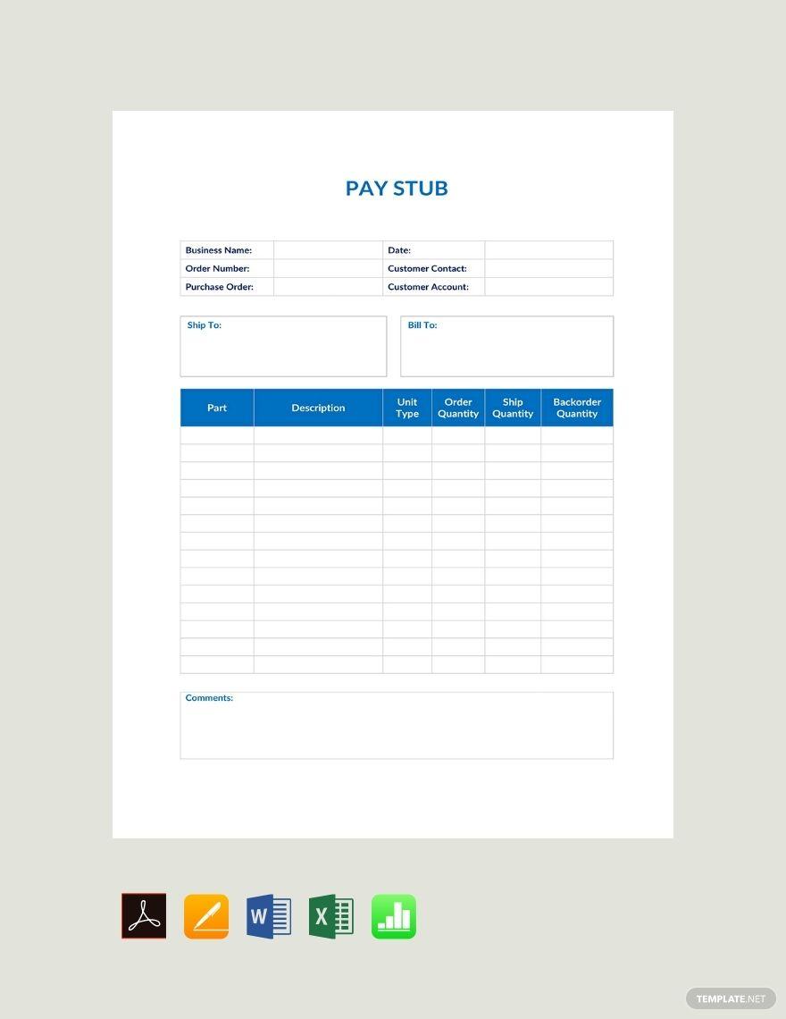 Basic Pay Stub Template Free Pdf Google Docs Google Sheets Excel Word Apple Numbers Apple Pages Template Net Templates Basic Words Pay stub template google docs