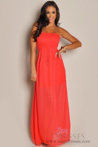 ae056684fc69 Strapless Red Orange Chiffon Maxi Dress | Long dresses for harp ...