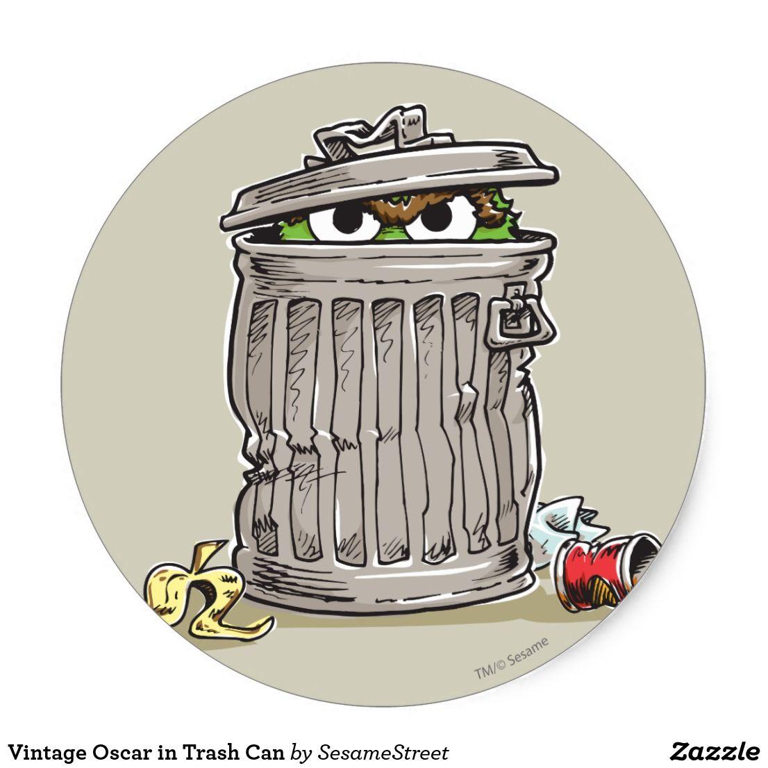 Vintage Oscar In Trash Can Classic Round Sticker Zazzle