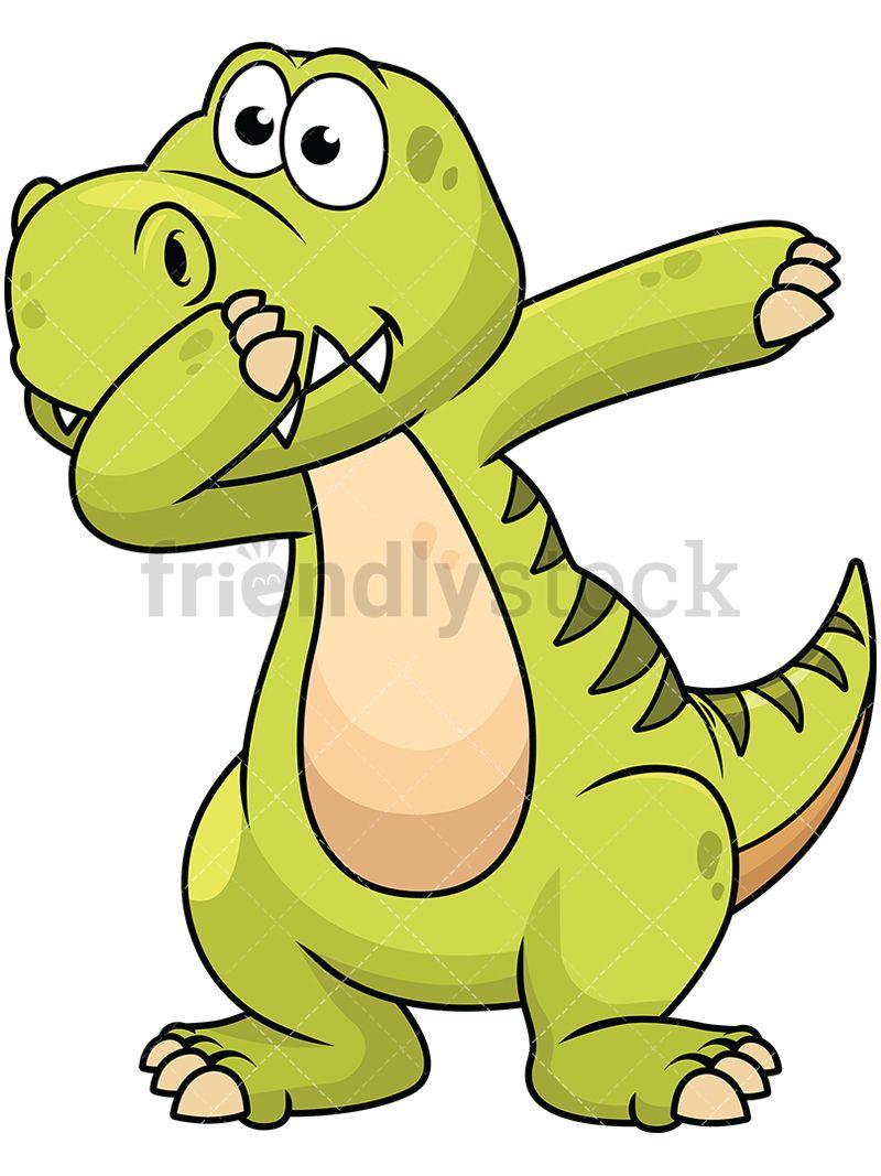 Dabbing Dinosaur Vector Cartoon Clipart | Dabbing and Animal