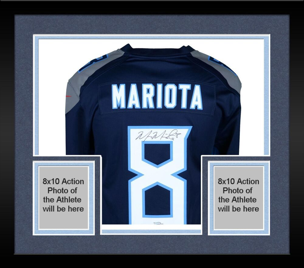 7d99b6480 Framed Marcus Mariota Tennessee Titans Autographed Nike Game Dark Blue  Jersey  sportsmemorabilia  autograph  football
