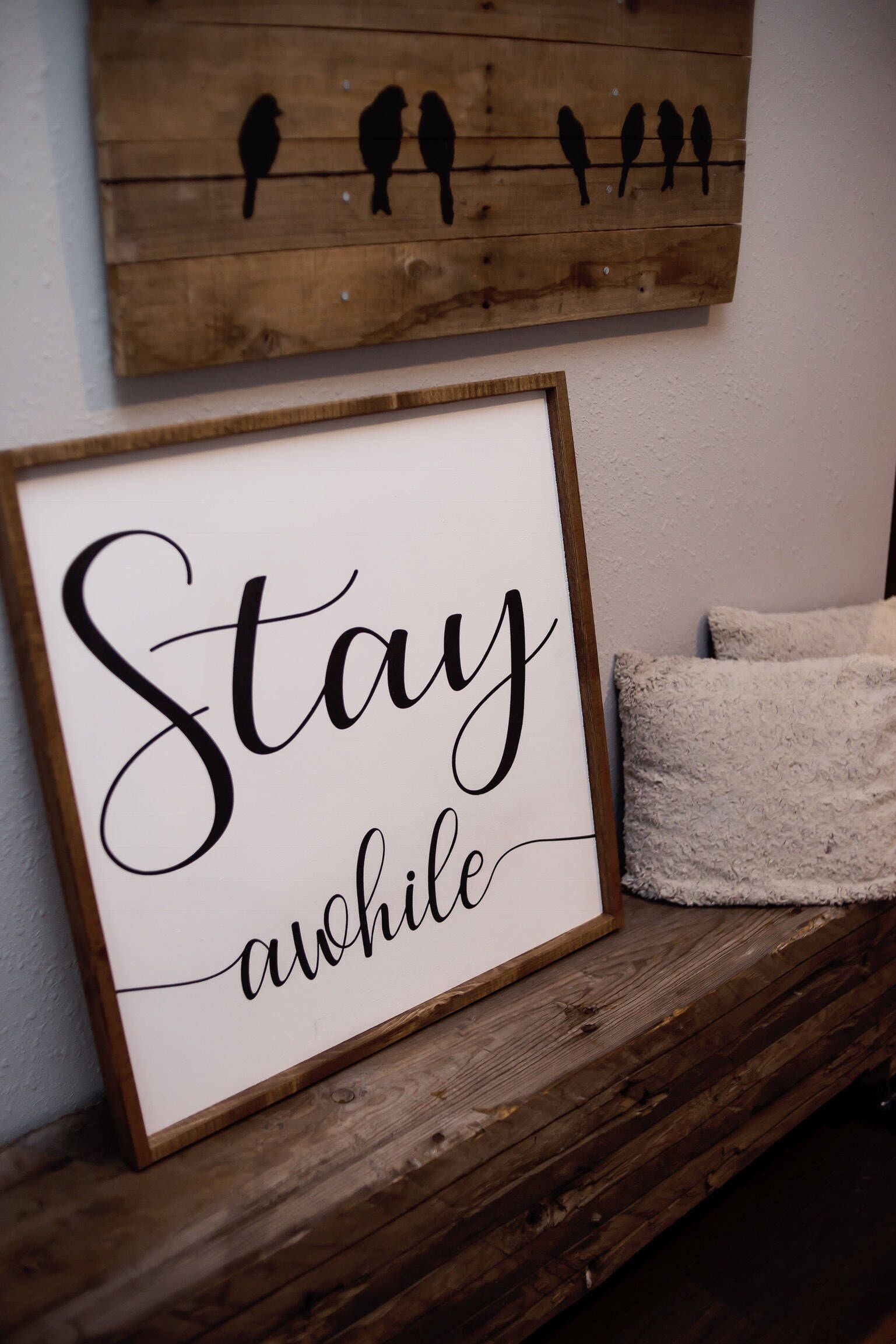 Stay Awhile Art Bedroom Sign Guest Room