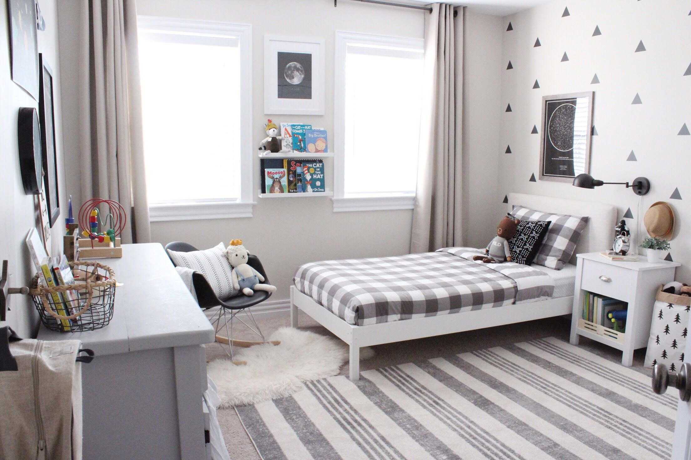 Project Nursery Black and White Boy's Room with Solar