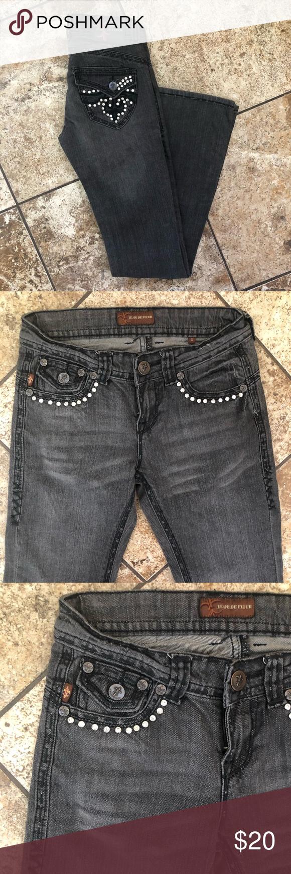 Jeans de fleur womenus gray jean sz in my posh closet