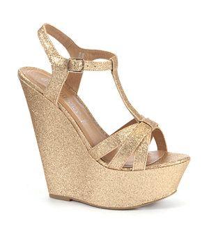 Gold Glitter Strap Platform Wedges  75e505d593