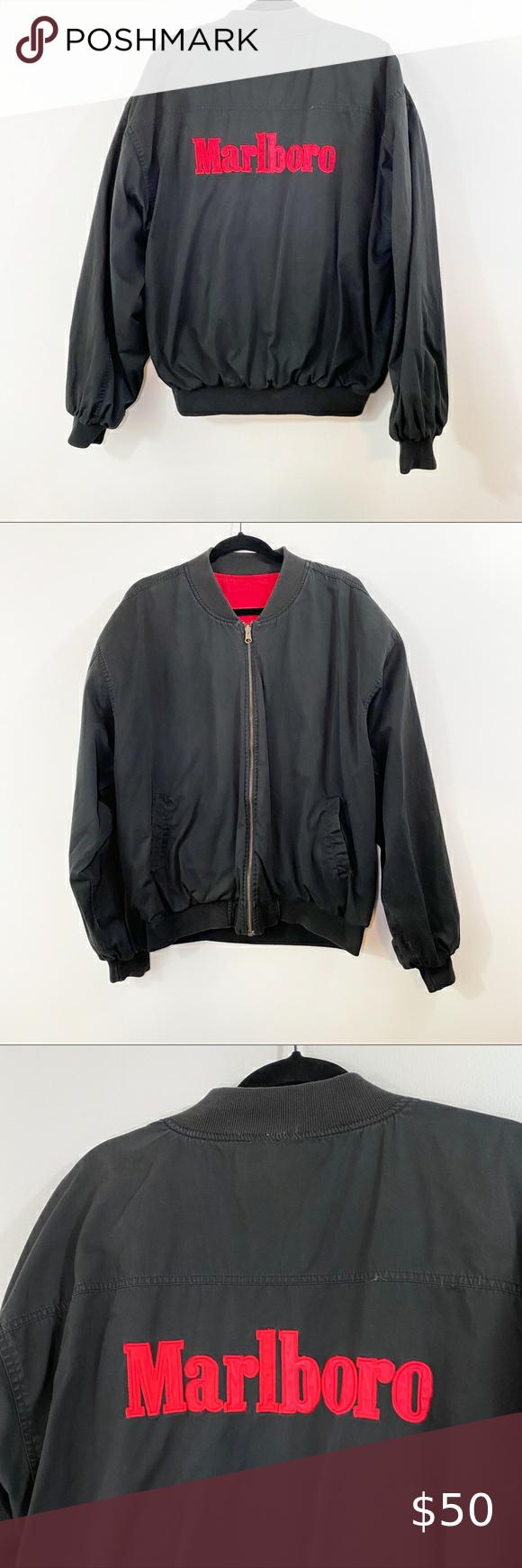 Marlboro Vintage Reversible 90 S Bomber Jacket In 2020 Bomber Jacket Marlboro Jacket Jackets