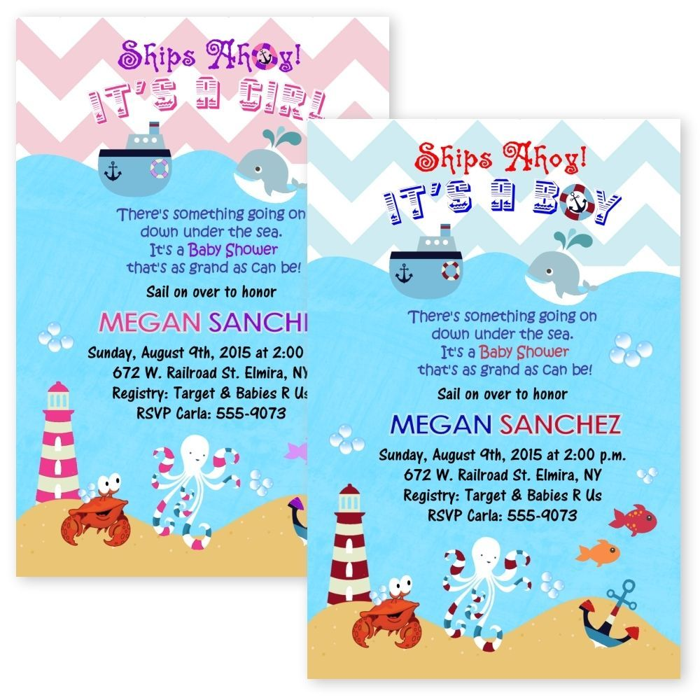 Cardstock Nautical Sailboat Sailor Baby Shower Invitations Crab ...