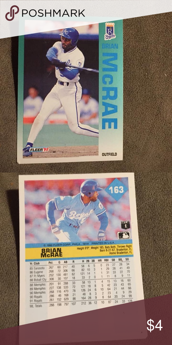 1992 Brian Mcrae Baseball Card Nice Card Other My Posh