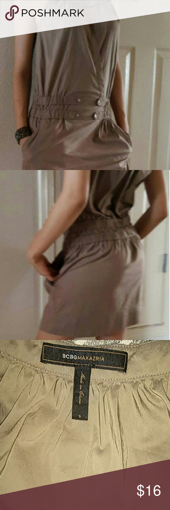BCBG olive brown mini skirt romper Great condition , fits me big that why I am selling it BCBG Maxazria  Dresses Mini