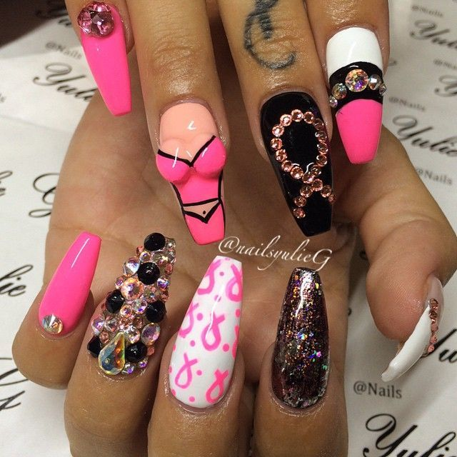 Before I knew they were breast cancer nails I was like wow really? But now  realizing they're for breast cancer I love the idea,super funny & cute! - Found On Google From Pinterest.com October BCA Nail Art