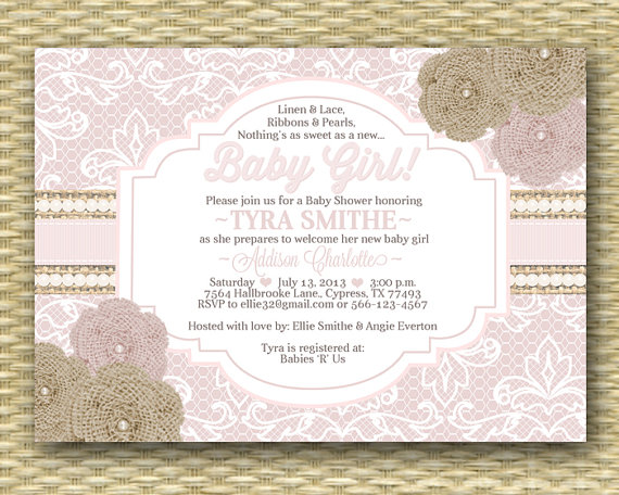 baby shower invitation rustic burlap lace ribbons pearls cream, Baby shower invitations