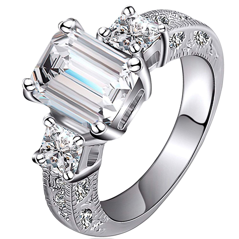 FENDINA Jewelry 18K White Gold Plated Wedding Engagement