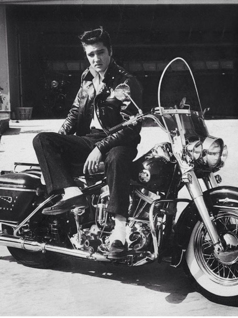 Elvis Presley On His Harley Davidson C 1950s Elvis