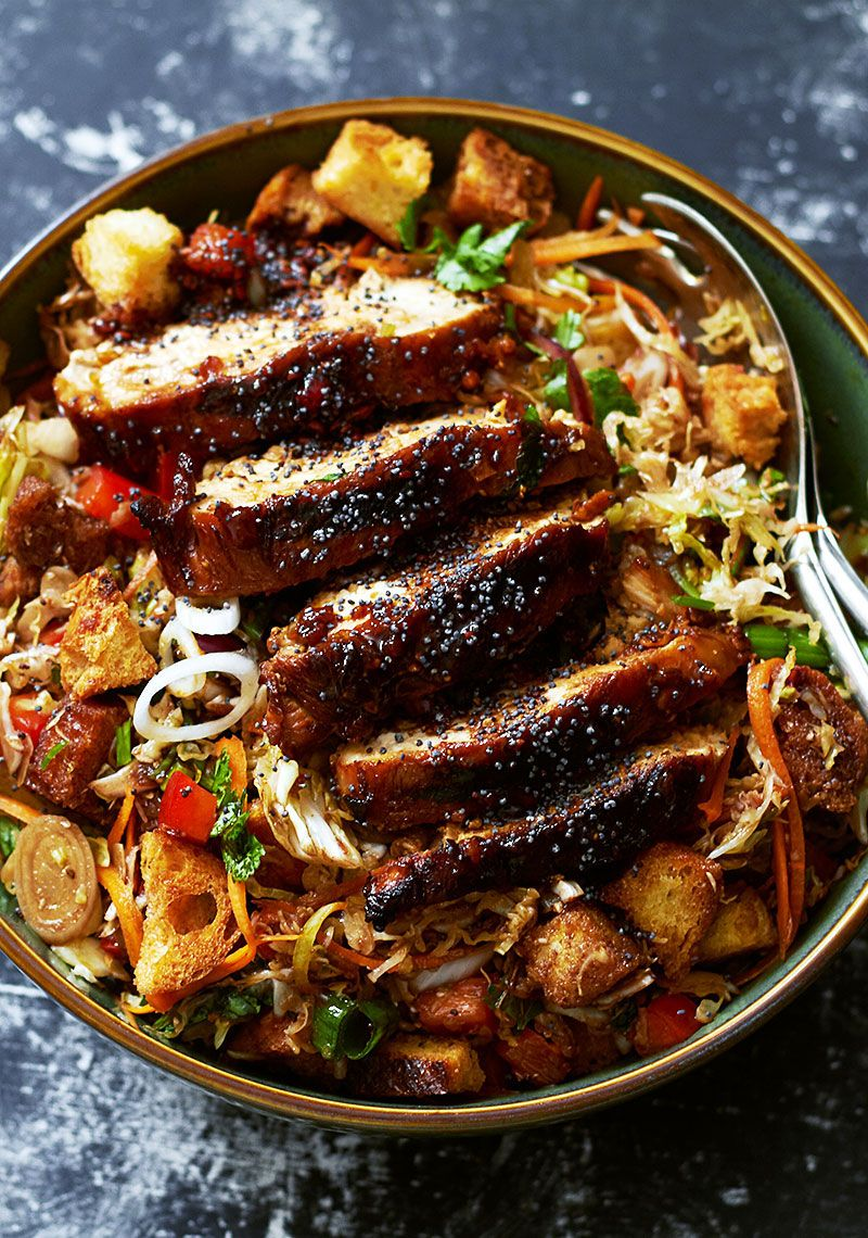 Grilled Chicken Salad with Cabbage and Raspberry B