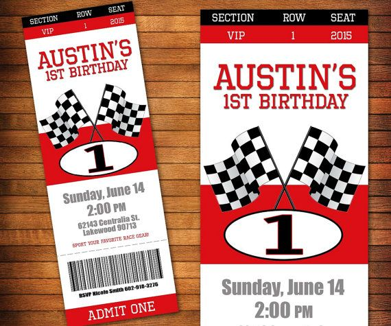Race Car Birthday Invitation Racing Party Pit Pass By LilGiggs