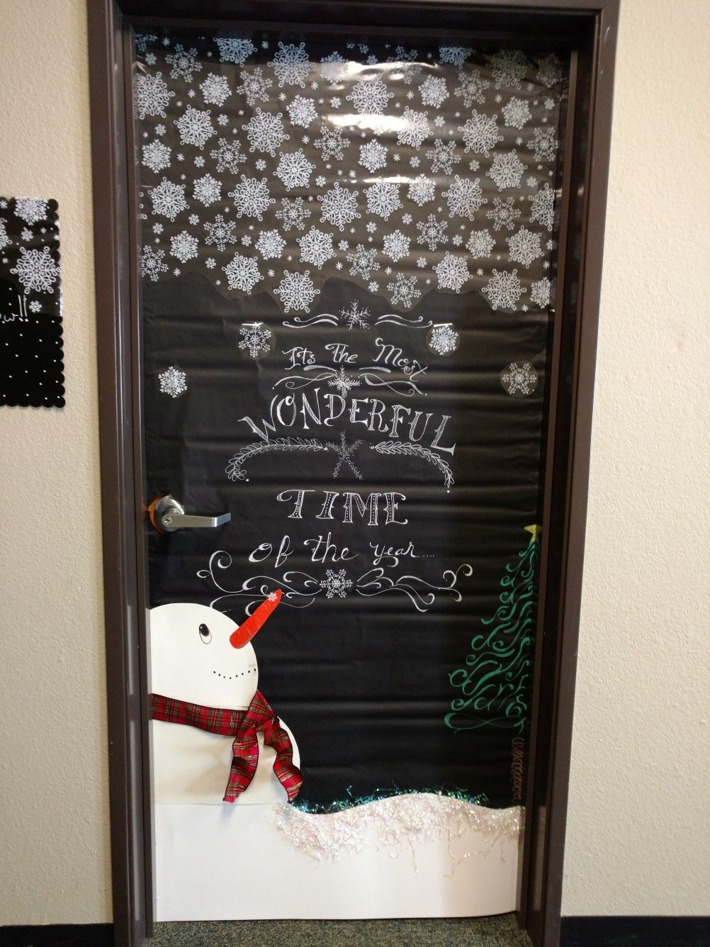 Door I did at work..   Holiday door decorations, Christmas ...