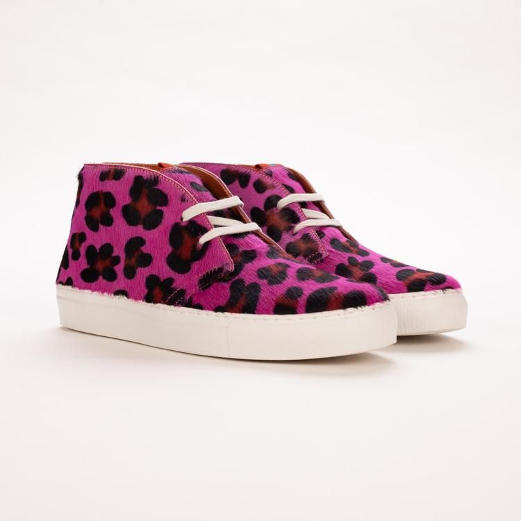 Product shot of Penelope Chilvers Jungle Pony Hair Leopard Electric Pink  Sneaker Boot 1f183e264