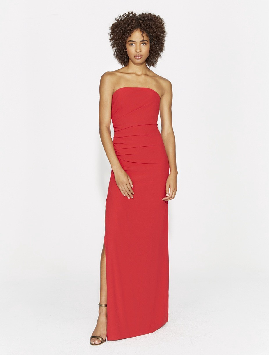 1fc77bc1086 Halston Heritage Strapless Ruched Side Crepe Gown - Carmine 2 ...
