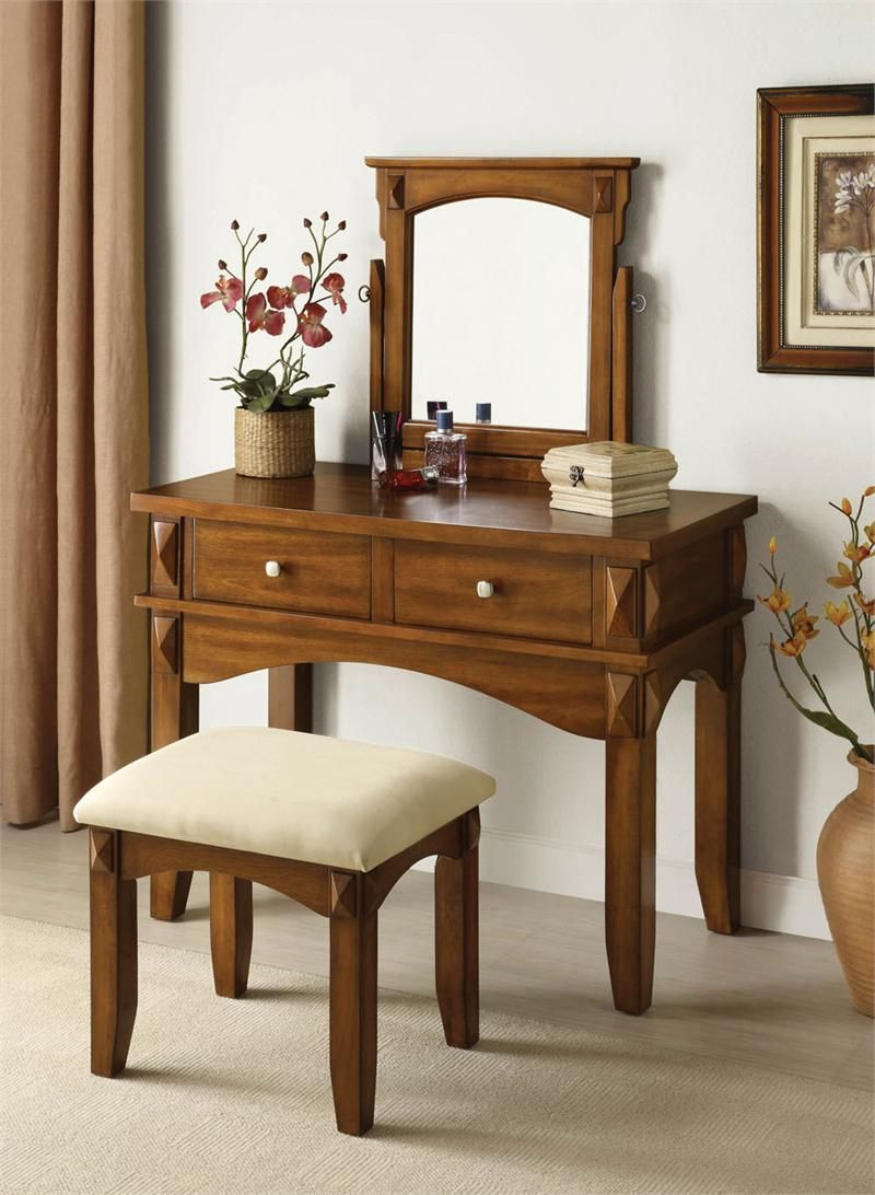 Aldora Rustic Oak Makeup Vanity Table Set W Mirror