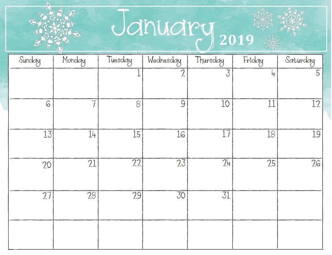Watercolor January 2019 Calendar Calendar 2018
