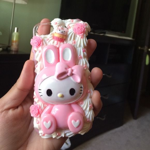 "Hello kitty iphone5 / 5s case This is a custom ""decoden"" phone case with sweets , pearls , and other girly things covered on it. So many compliments I got from using it hello kitty sanrio Other"