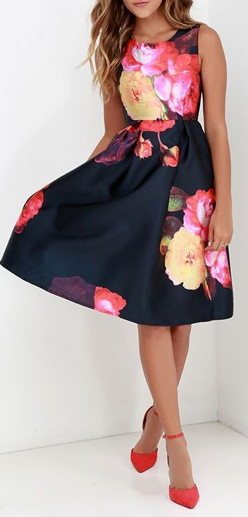 11125c0a9b Ballroom Bloom Navy Blue Floral Print Midi Dress