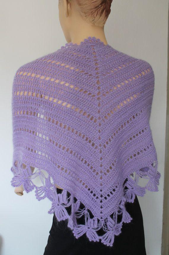 Mariposas Lila Crochet chal Holiday accesorios por levintovich