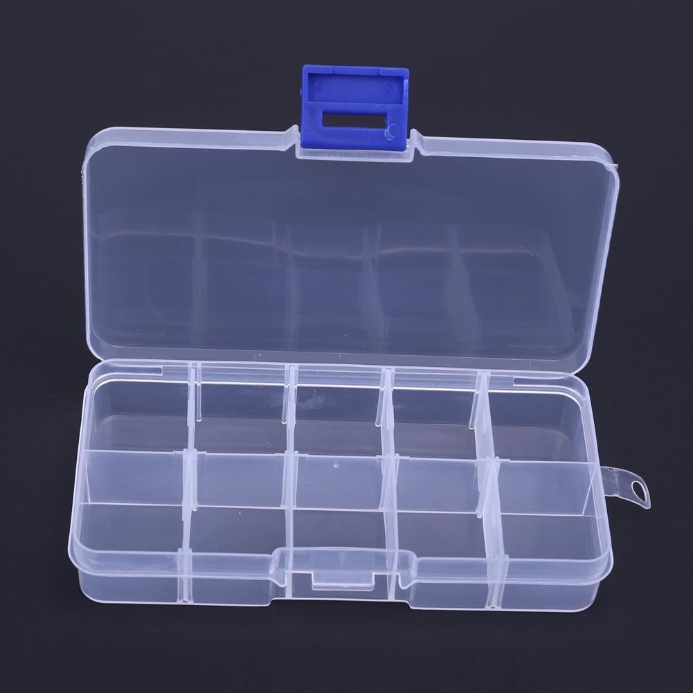 10 COMPARTMENTS STORAGE CASE BOX TRANSPARENT FISHING LURE SQUARE FISHHOOK BOX SPOON HOOK BAIT TACKLE BOX FISH ACCESSORY BOX & 10 Compartments Storage Case Box Transparent Square Fishhook Box ...