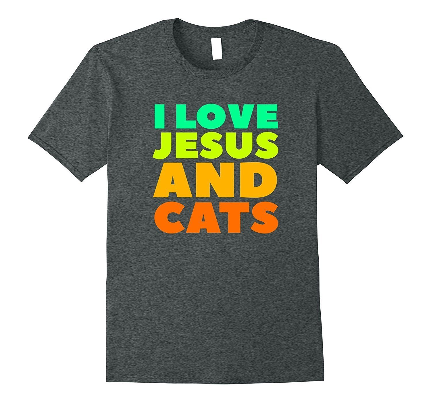 I love jesus and cats funny tshirt heather grey tshirt and cotton