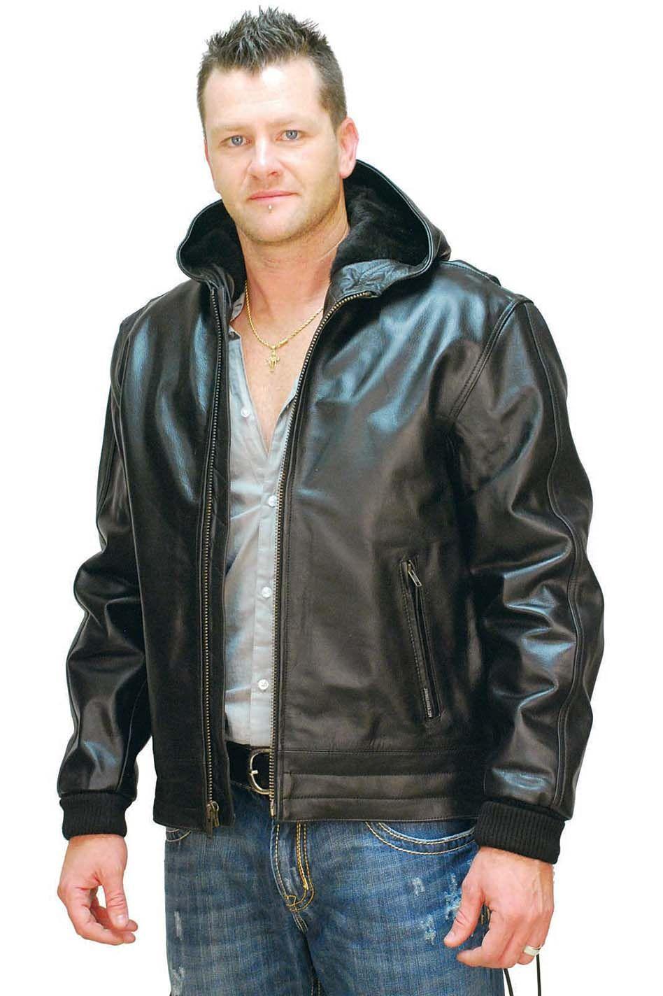 Jamin Leather Men's Fur Lined Jacket w/ Hood M01101HHK