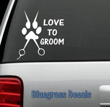 Love To Groom Dog Grooming SCISSORS STYLIST PET SALON DECAL STICKER for CAR TRUCK SUV VAN