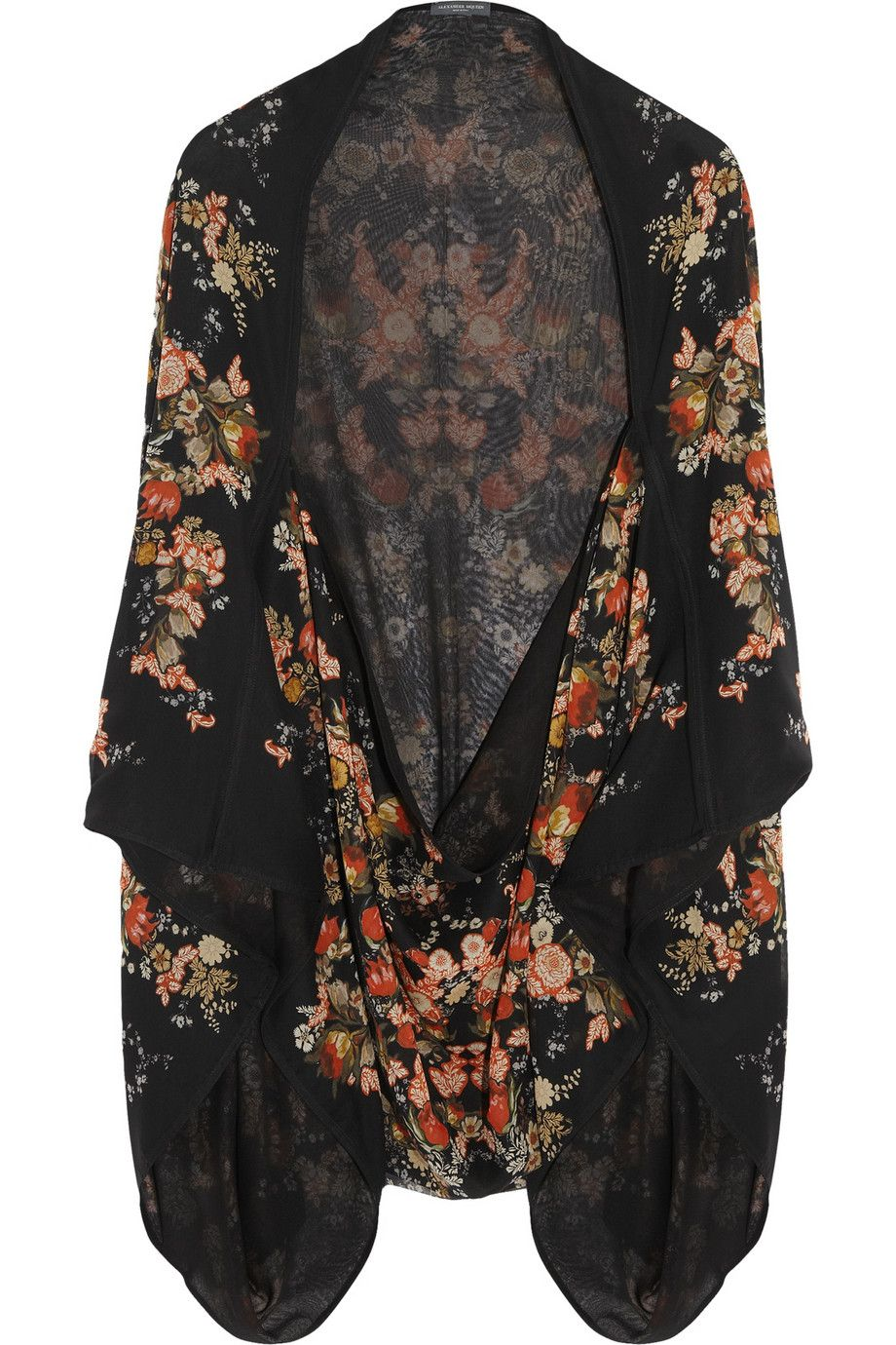 Alexander McQueen|Printed silk-georgette cape