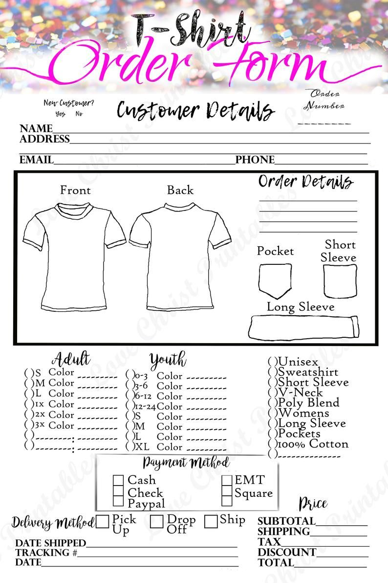 Small Business Launch Planner Shirt Order Form T Shirt Order Form Craft Order Form Order Form Printable Order Form Printable Invoice In 2021 Cricut Projects Vinyl Cricut Projects Beginner Order Form
