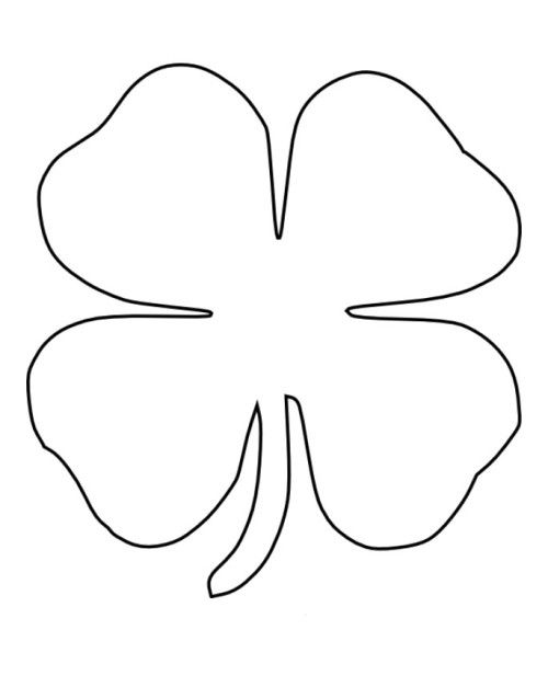 four leaf clover coloring pages - 4 Leaf Clover Coloring Page