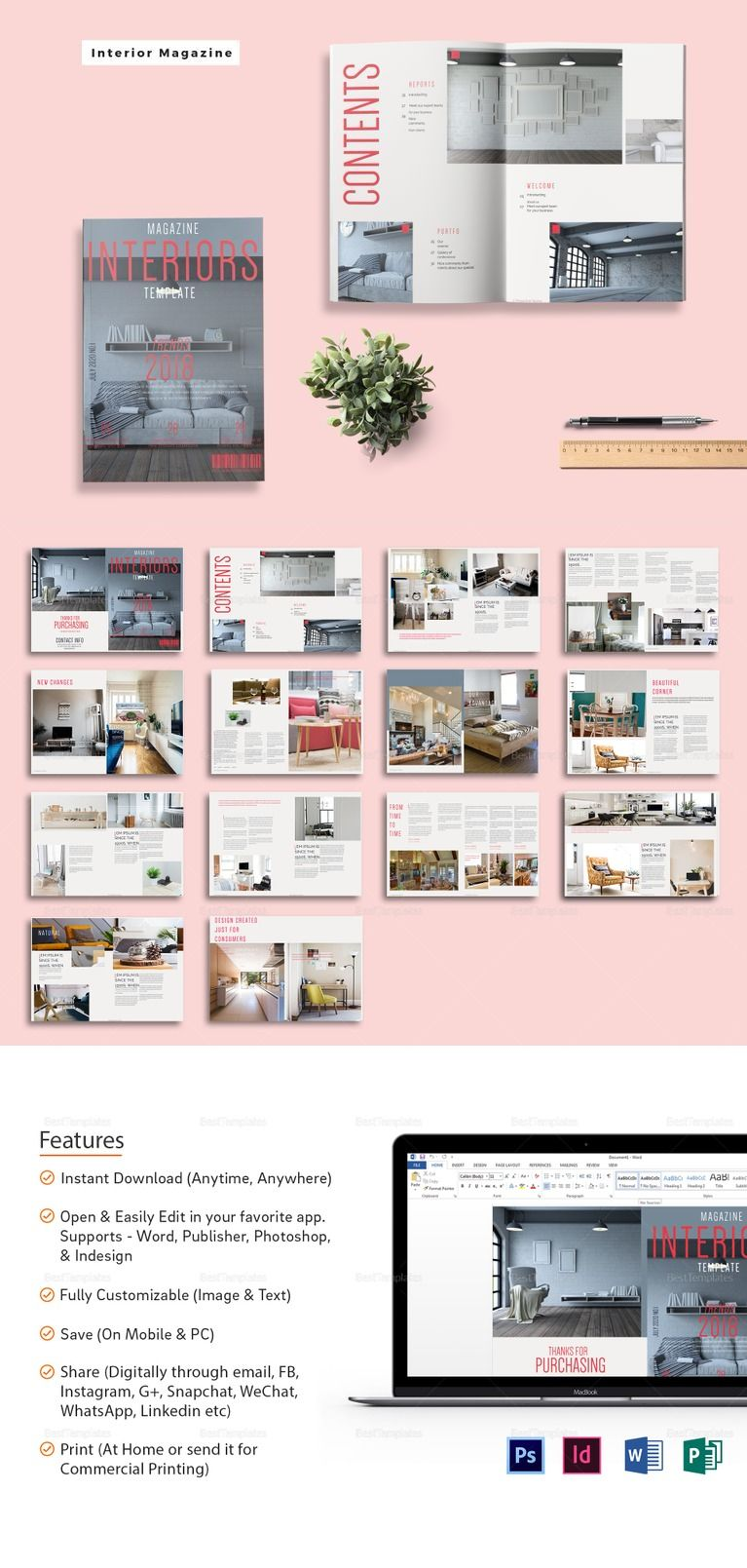 interior magazine template  ❱❱ magazine templates  easy to edit . showcase your interior design concepts to your clients with this easy toedit magazine template