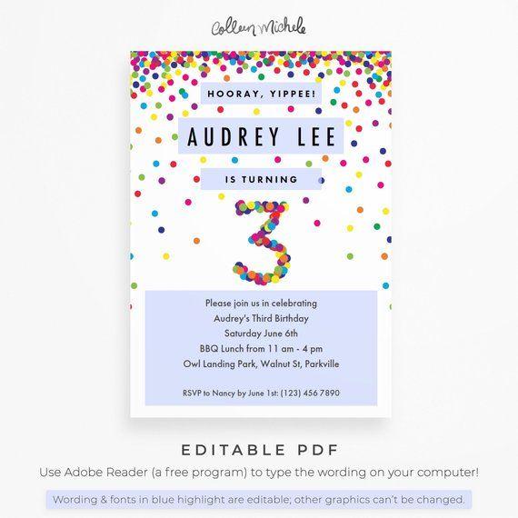 Rainbow 3rd Birthday Invitation Instant Download PDF Cute Confetti Invite For A 3 Yea