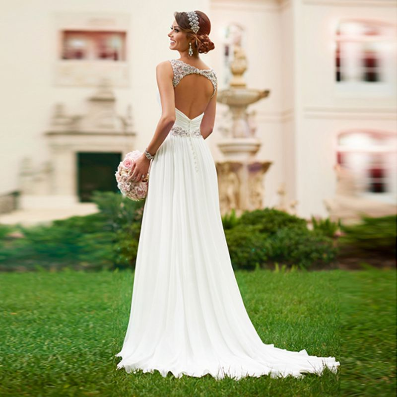 New Bridal Gown V-neck Sleeveless Long Pleat Crystal Beaded White Chiffon A-Line Wedding Dress