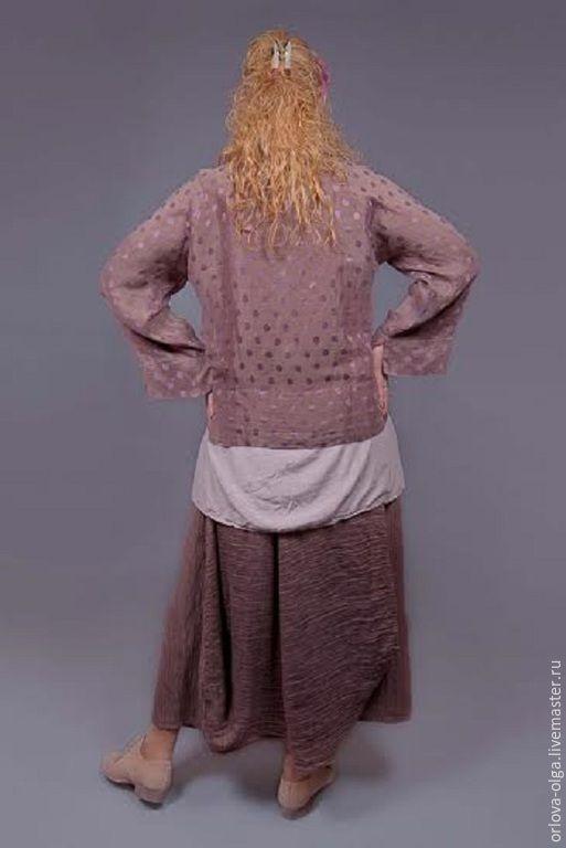 Купить Жакет лен с шелком-0002 - коричневый, жакет, жакет женский, жакет на пуговицах