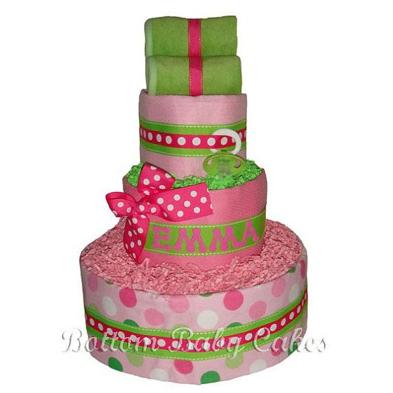 Girl Diaper Cakes Wrapped in Pink Baby's Name by BottomBabyCakes, $65.95