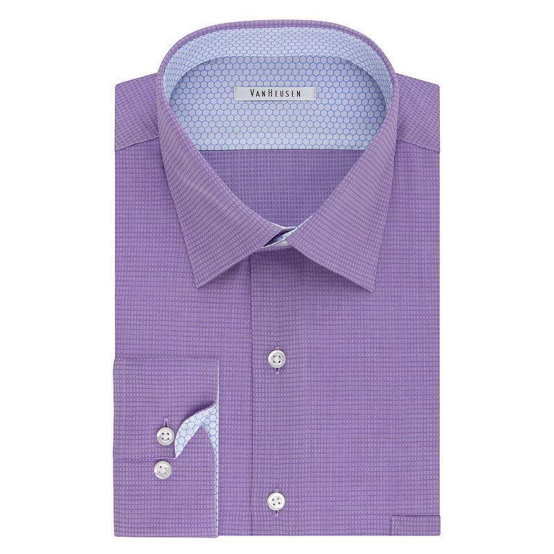 Men S Van Heusen Air Regular Fit Stretch Dress Shirt Slim Fit Dress Shirts Fitted Dress Shirts Purple Dress Shirt