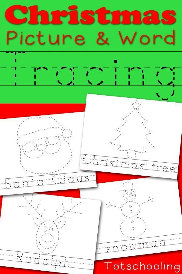 Christmas Picture Word Tracing Printables Christmas