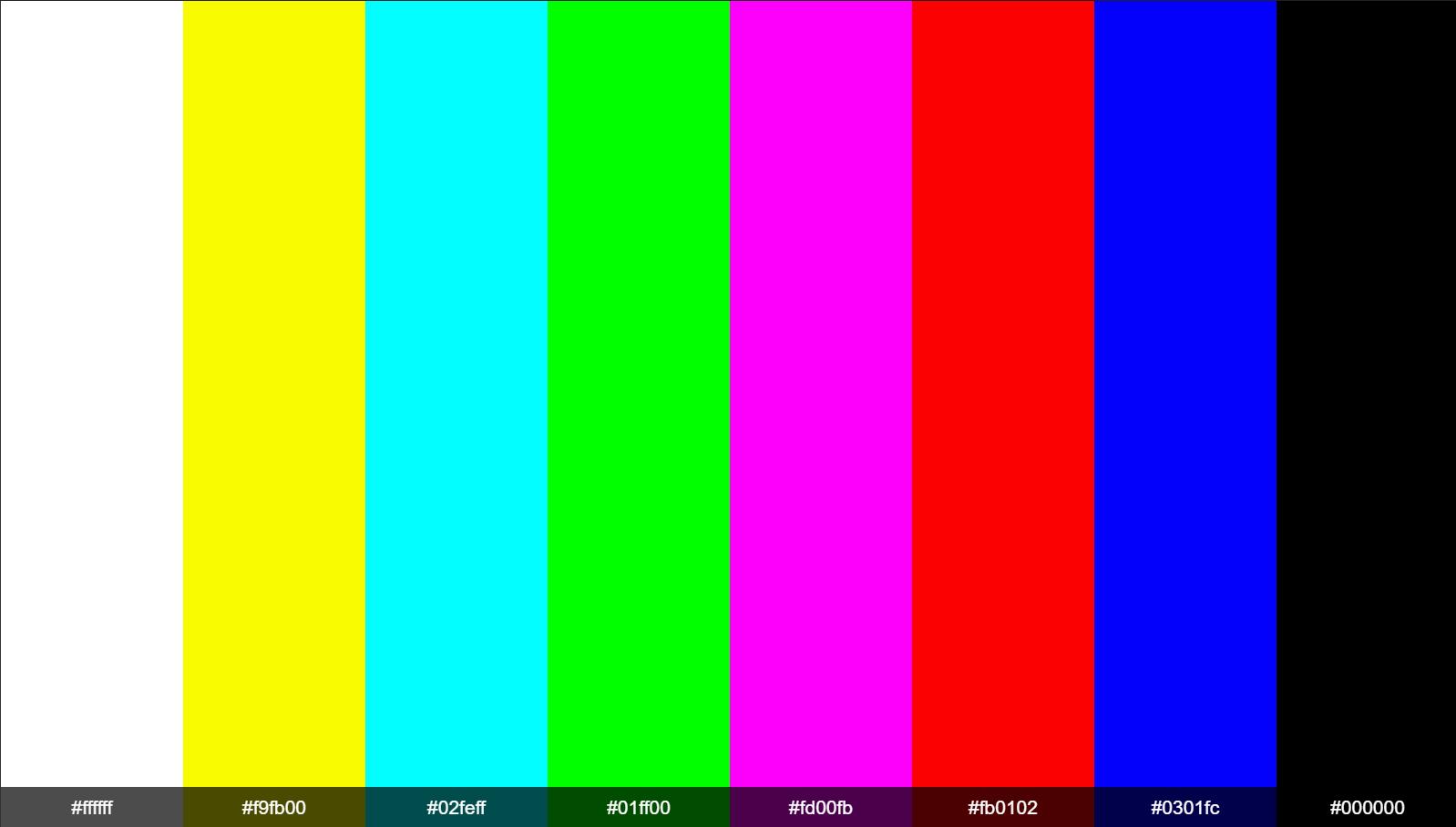Tv No Signal Color Bars Hex Colors Ffffff F9fb00 02feff 01ff00 Fd00fb Fb0102 0301fc 00000 Printable Coloring Pages Tv Static Printable Coloring