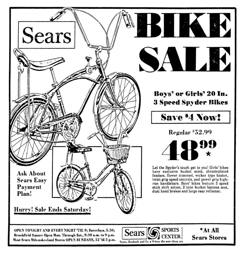 Sears Spyder Bikes June 1970 Vintage Advertisements Vintage