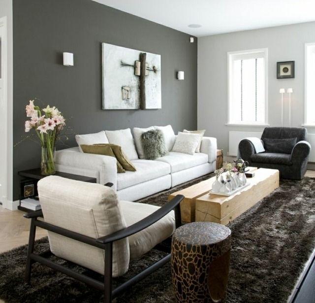 Wohnzimmer Wandfarbe Grau streichen Ideen modern  Reh