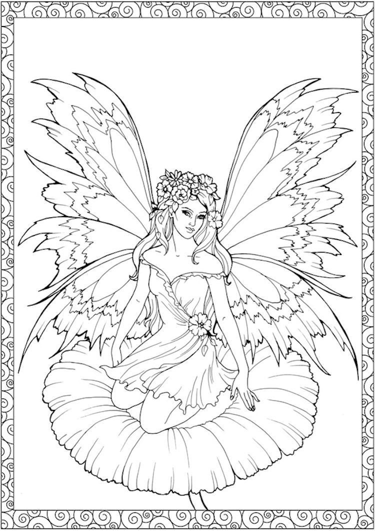 Dover Creative Haven Enchanted Fairies Coloring Page 4 | Coloring ...