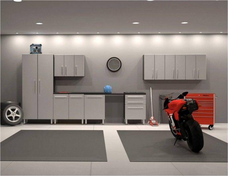 Grey Theme Garage With Modern Recessed Lighting Ceiling And Grey Ultimate Garage Storage Cabinet Ikea Black Whi Garage Ontwerp Garagehuis Garage Opbergkasten
