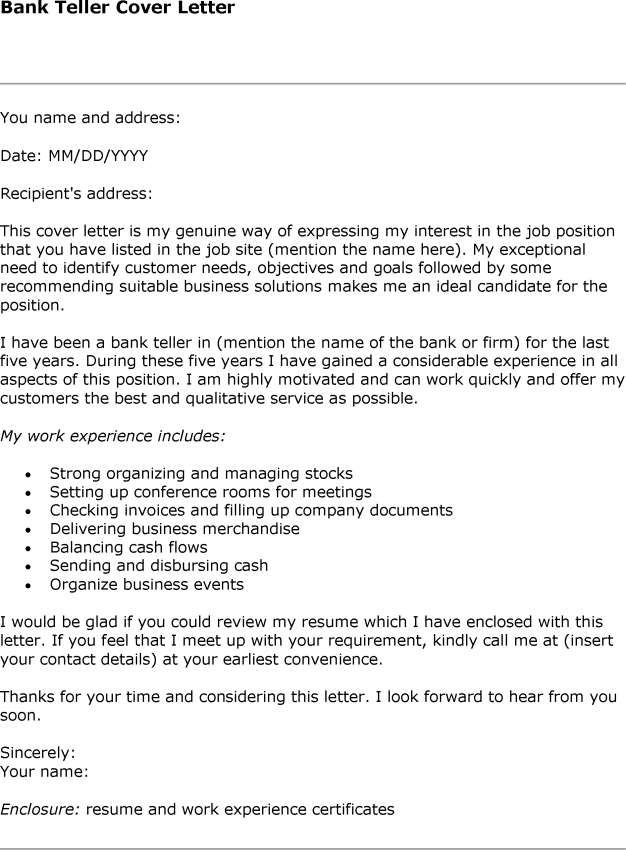 Sample Cover Letter For Bank Teller Position -   www - teller resume cover letter