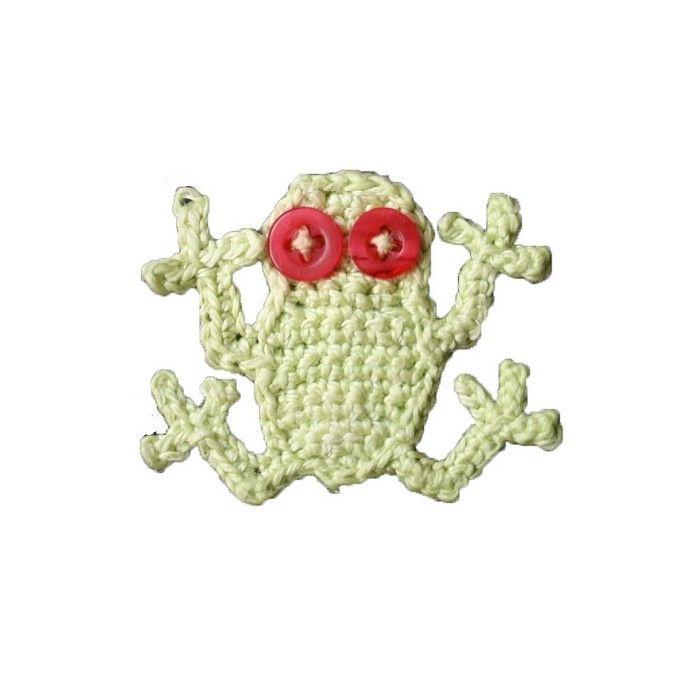 Pattern- Frog Crochet Applique PDF | Appliqué | Pinterest ...