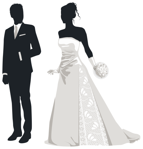 Bride And Groom Silhouettes PNG Clip Art